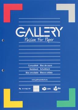 Gallery cursusblok, ft A4, 80 g/m², 2-gaatsperforatie, commercieel geruit, 100 vel