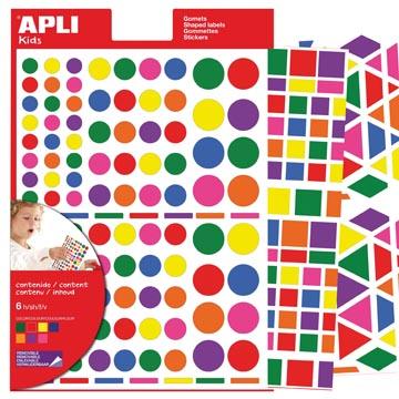 Apli Kids verwijderbare stickers, geassorteerde vormen, kleuren en groottes, blister met 664 stuks