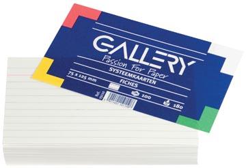 Gallery witte systeemkaarten, ft 7,5 x 12,5 cm, gelijnd, pak van 100 stuks