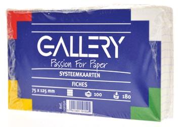 Gallery witte systeemkaarten, ft 7,5 x 12,5 cm, geruit 5 mm, pak van 100 stuks