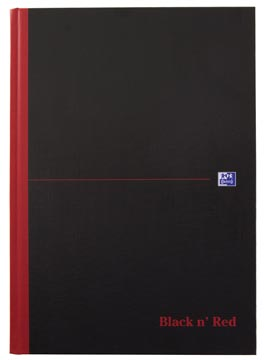 Oxford BLACK N' RED gebonden boek, 192 bladzijden, ft A4, geruit 5 mm