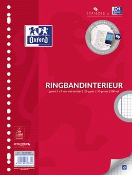 Oxford ringbandinterieur voor ft A4, 23-gaatsperforatie, met kantlijn, 200 bladzijden, geruit 5 mm