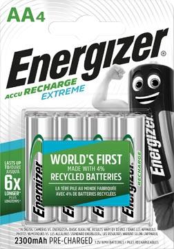 Energizer herlaadbare batterijen Extreme AA, blister van 4 stuks