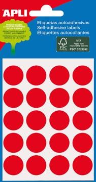 Apli ronde etiketten in etui diameter 19 mm, rood, 100 stuks, 20 per blad (2065)