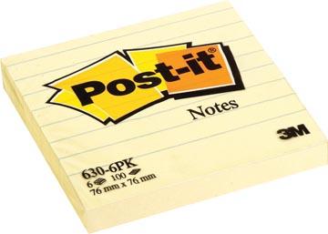 Post-it Notes, ft 76 x 76 mm, geel, gelijnd, blok van 100 vel