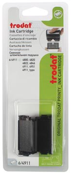 Trodat vervangkussen zwart, voor stempel 4911/4820/4822/4846, blister met 2 stuks