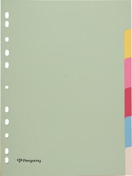 Pergamy tabbladen ft A4, 11-gaatsperforatie, karton, geassorteerde pastelkleuren, 6 tabs