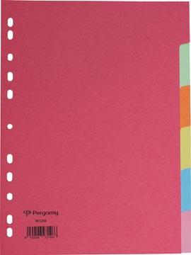 Pergamy tabbladen ft A4, 11-gaatsperforatie, extra sterk karton, geassorteerde kleuren, 6 tabs