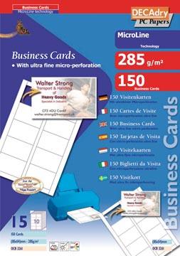 Decadry visitekaarten MicroLine ft 85 x 54 mm, 285 g/m², 150 kaartjes