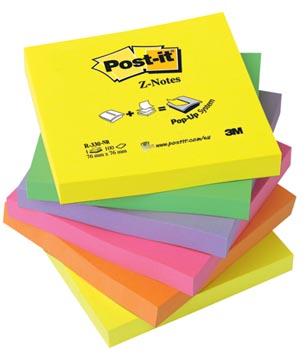 Post-it Z-Notes navullingen, ft 76 x 76 mm, geassorteerde neonkleuren, pak van 6 blokken