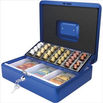 Acropaq geldkoffer met muntsorteerder, ft 30 x 24 x 9 cm, blauw